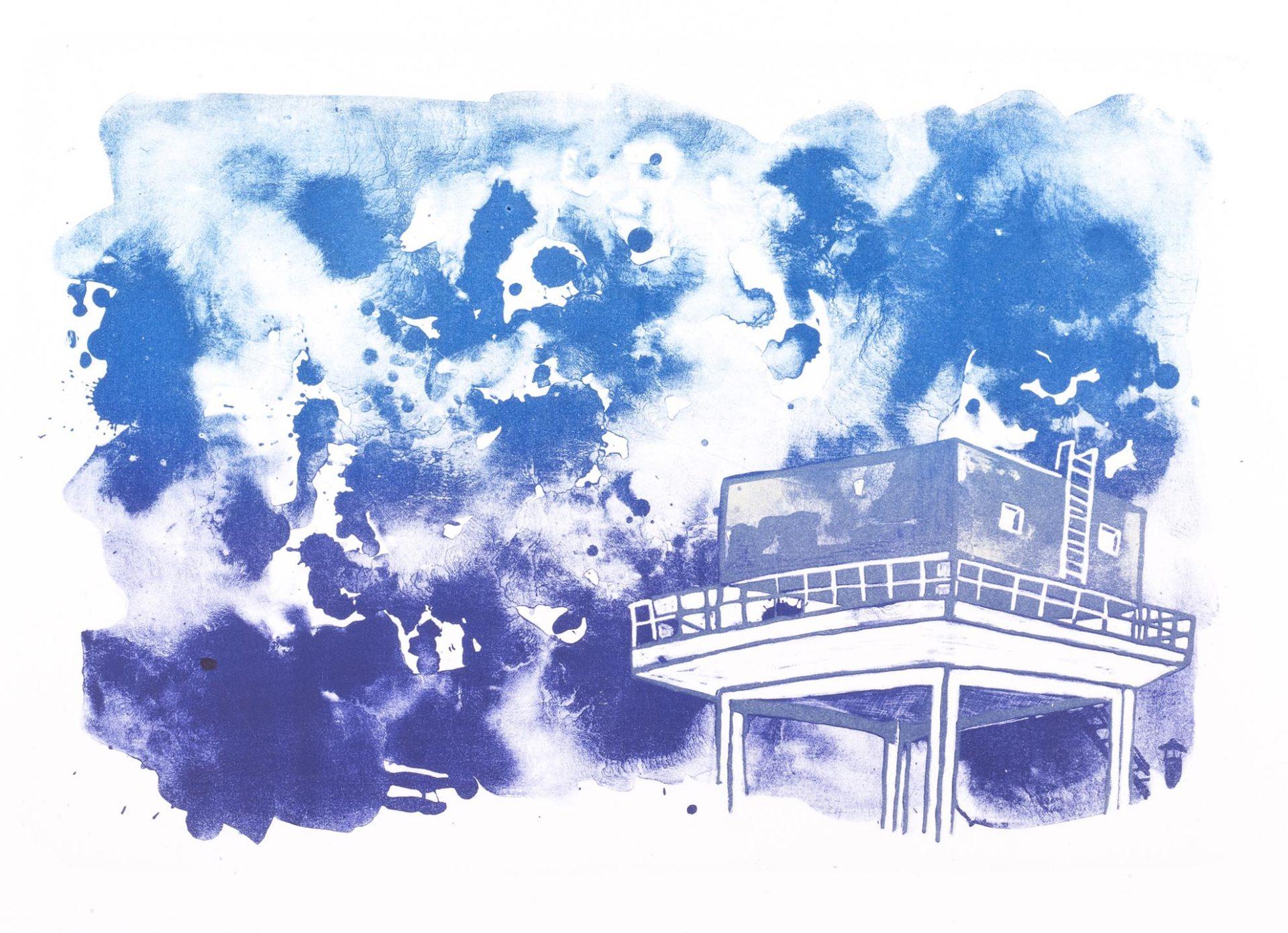 lithographie en trois couleurs représentant la réserve d'eau de la chocolaterie de Villa Lynch