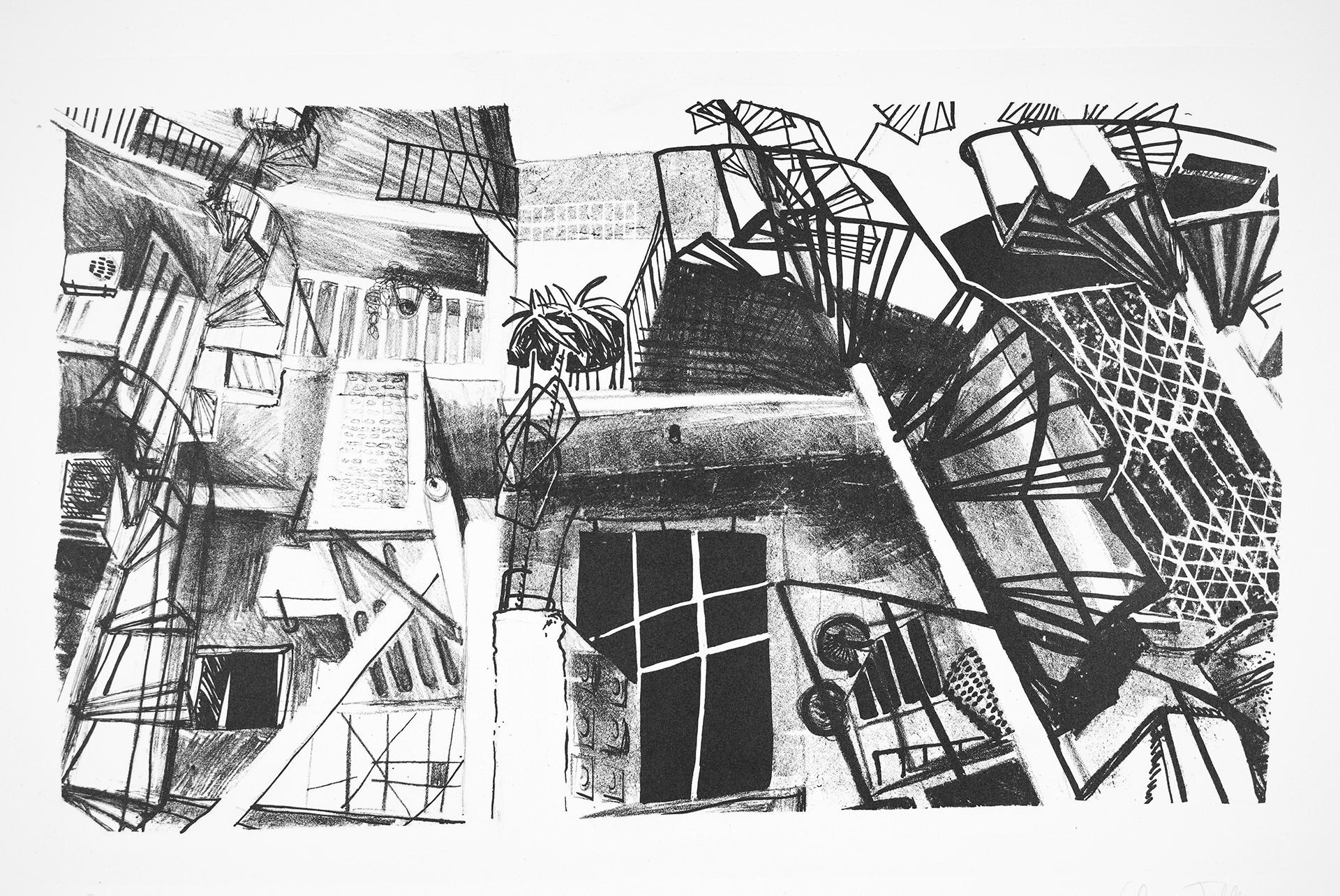 Lithographie, marqueur, crayon, encre, stylo bille, 2015,