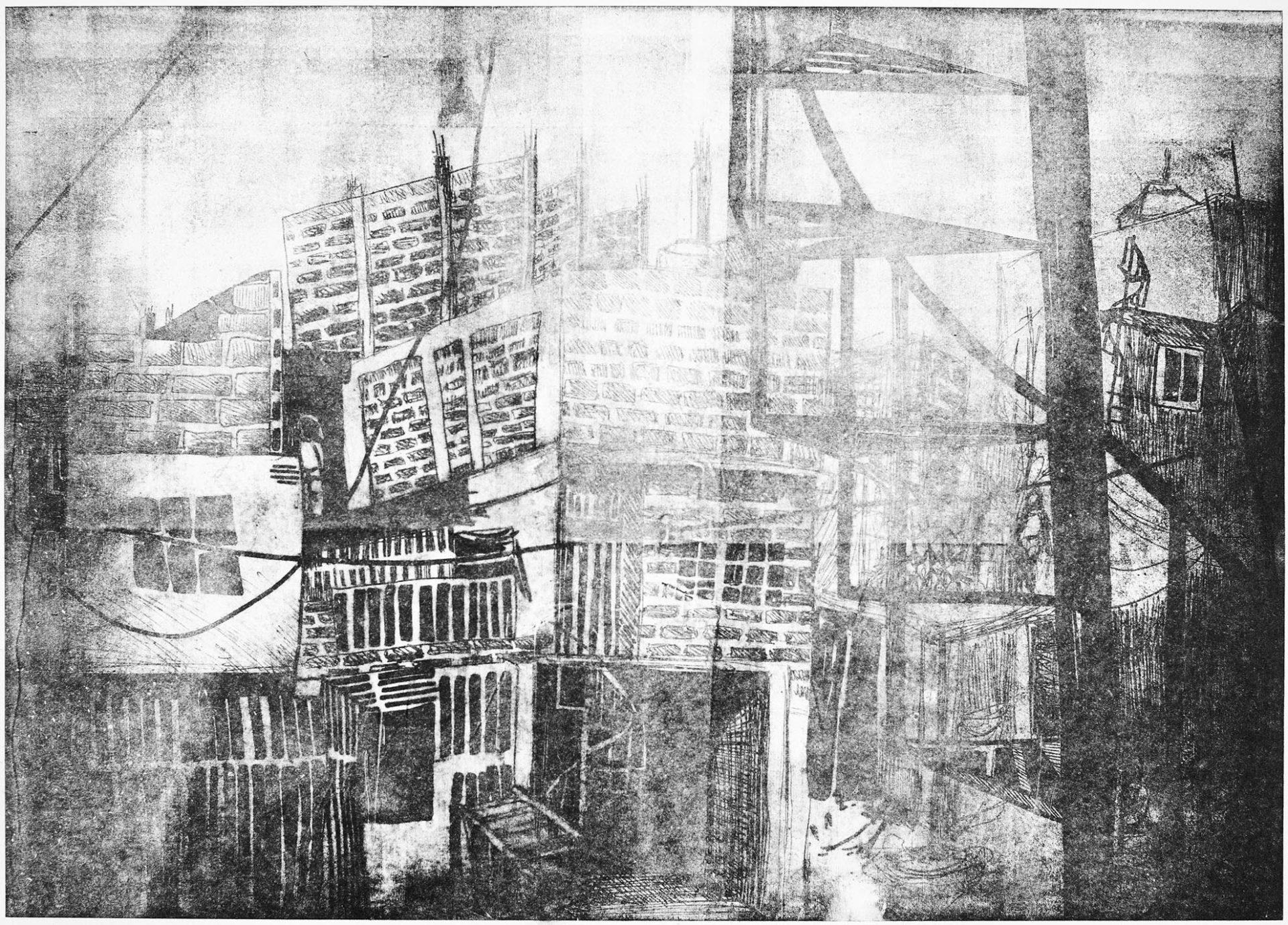 Lithographie sur polyester, brouillard dans le quartier de Villa 31