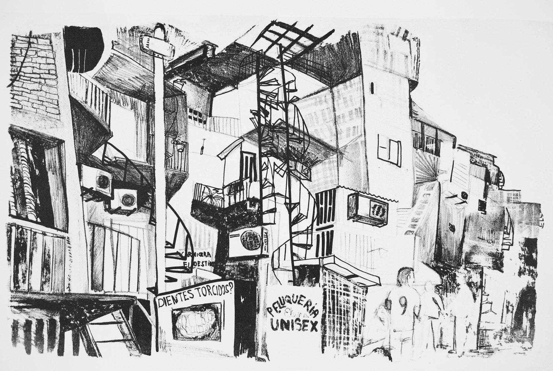 lithographie représentant le quartier de villa 31