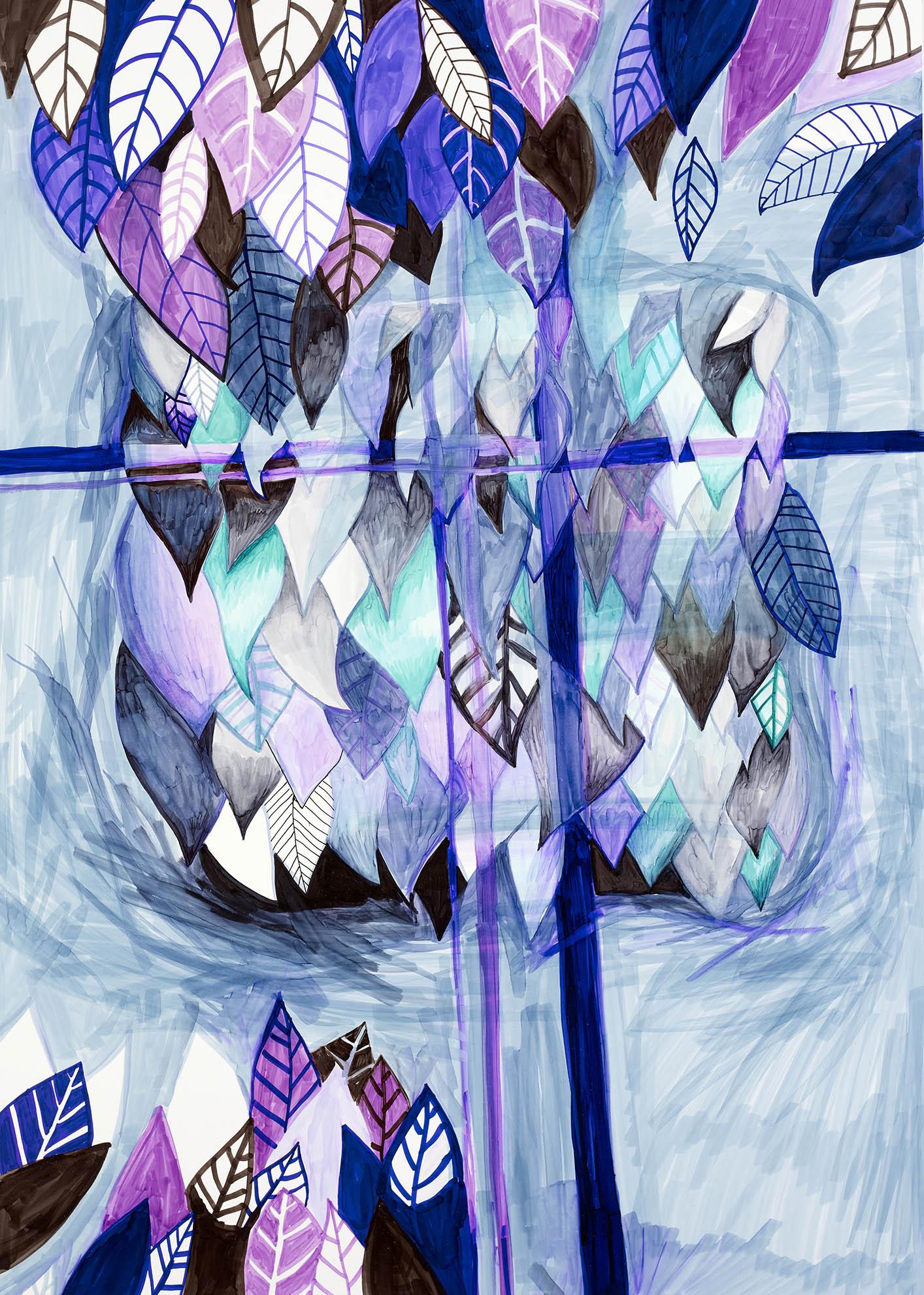 Dessin, Reflets de feuilles dans le croisillon d'une fenêtre
