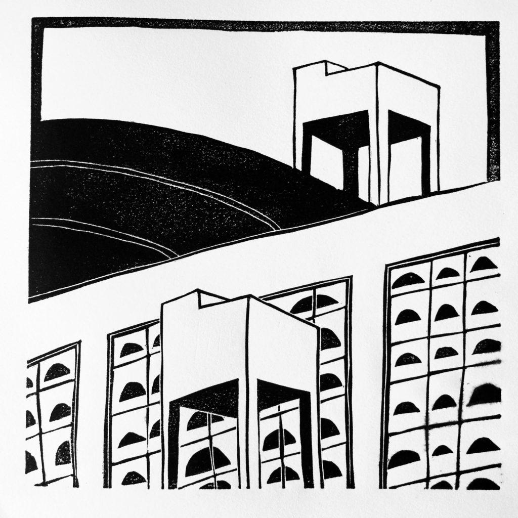Gravure sur linoléum, deux réserves d'eau devant des bâtiments