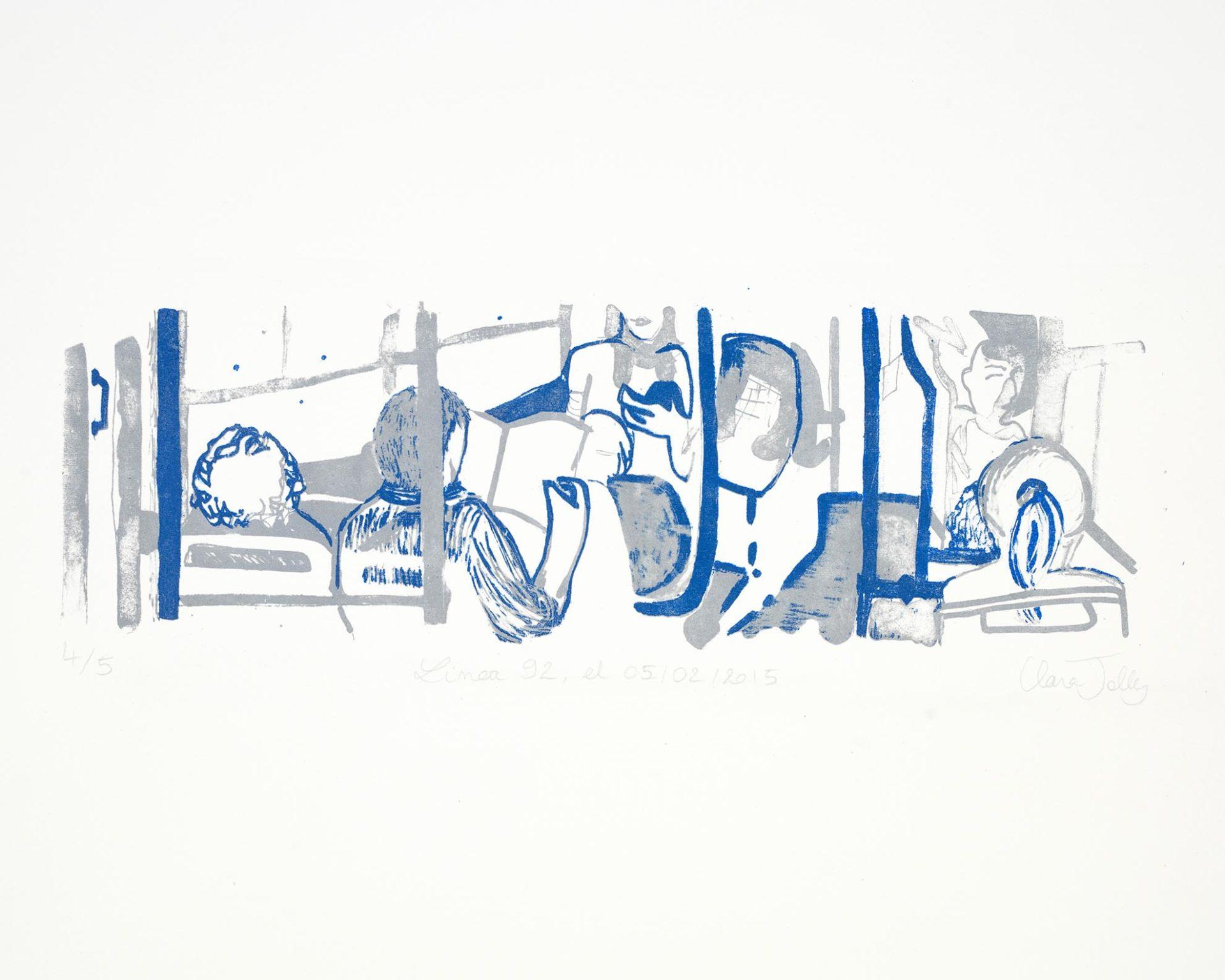Lithographie en deux couleurs (gris et bleu foncé) représentant les passagers du bus 92 le 05/02/2015