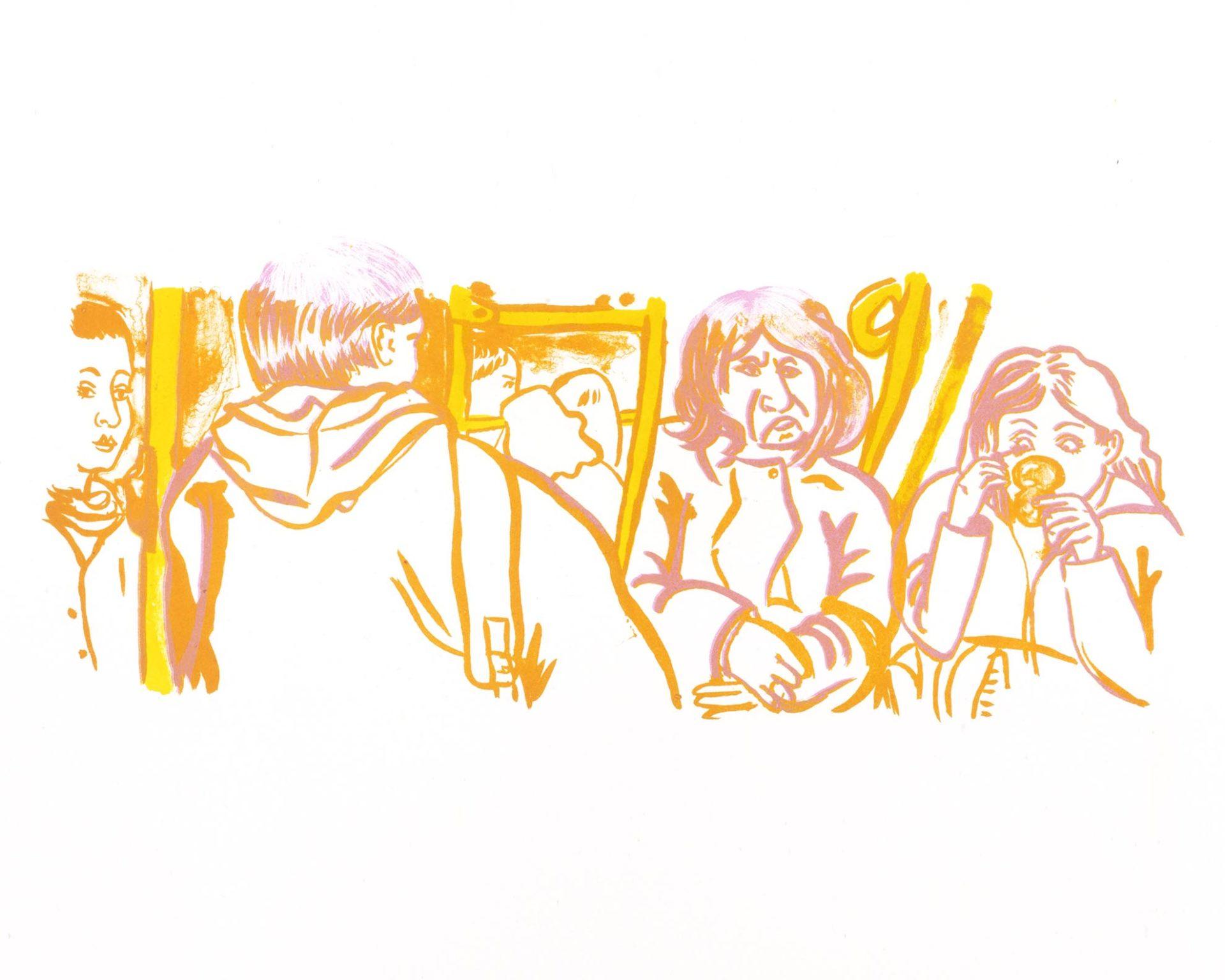 lithographie en trois couleurs, rose, jaune et rose. 2017, Passagers du bus 65 à Buenos Aires